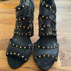 Black Heels w/ Clear Parts & Gold Studs, Back Zip